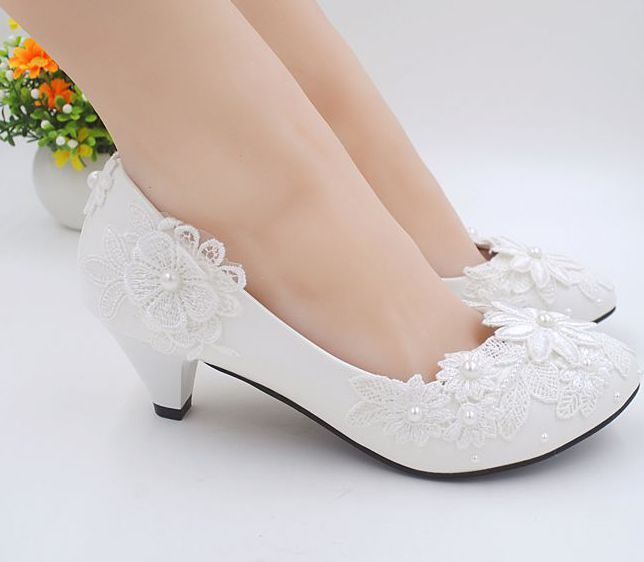 Exceptionnel Wedding Shoes Applique Lace Decoration White Color Milk Ivory 2 Inch 3inch  Ivory Wedding Shoes Low