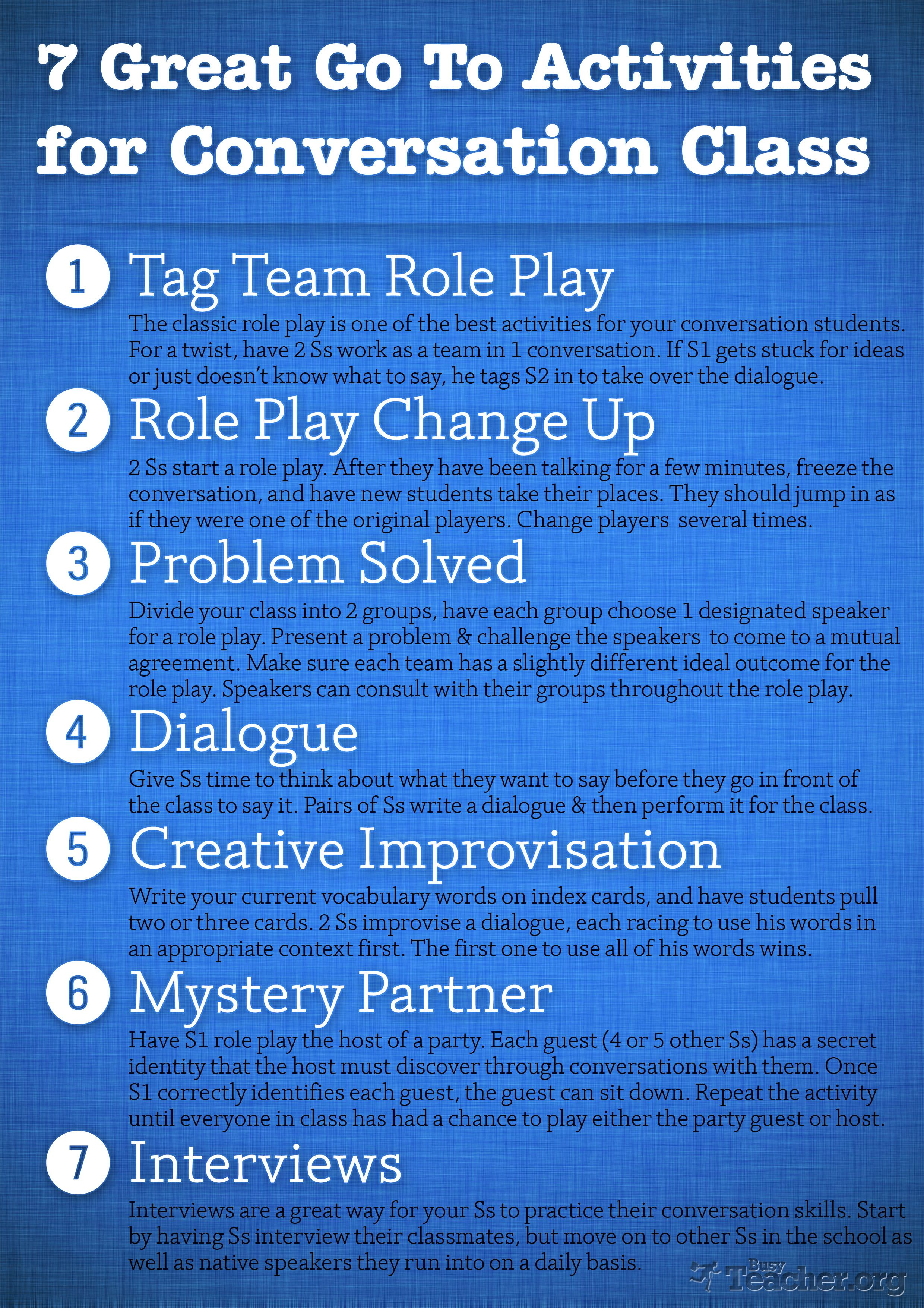 7 Great Go To Activities For Conversation Class Poster