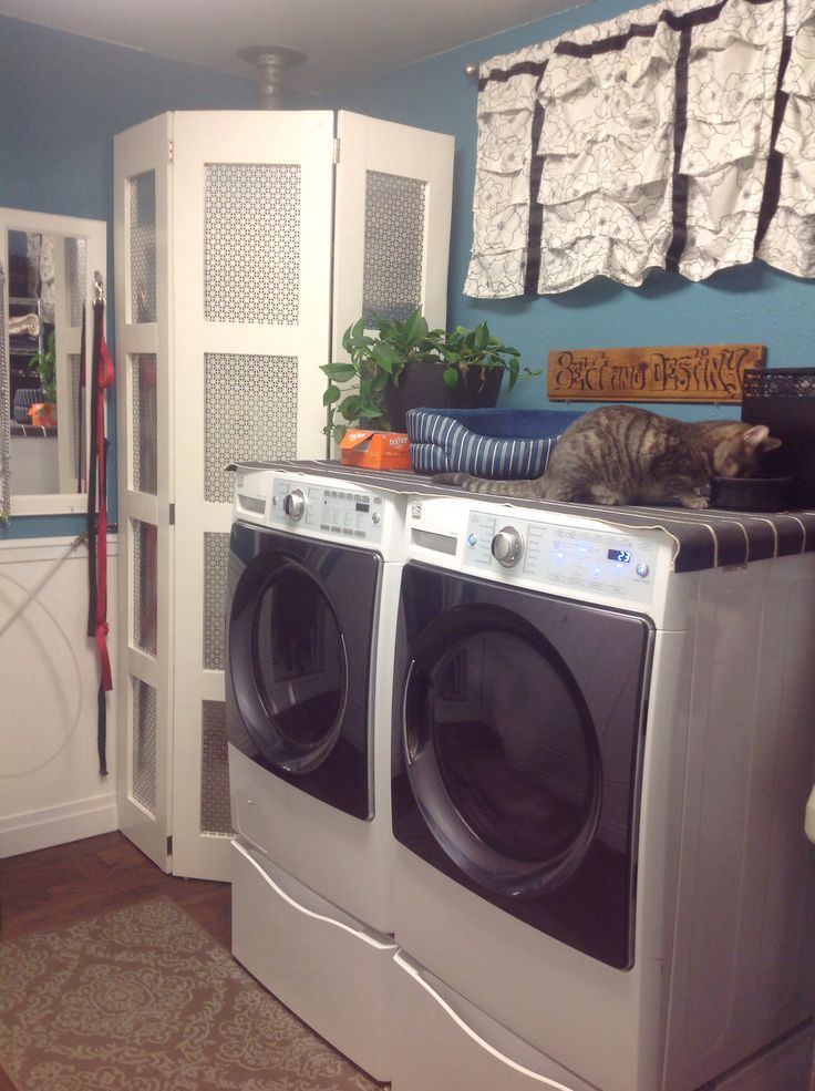 Hide Water Heater Behind Home Made Screen Laundry