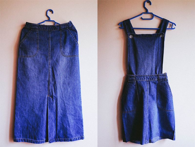 0365bd148 DIY Denim Maxi Skirt to Pinafore | Do It Yo Damn Self | Diy clothes ...