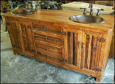 Rustic Bath Vanity Cabinets | Rustic Bathroom Vanity: Log Cabin Rustic  Vanity With Hammered Copper