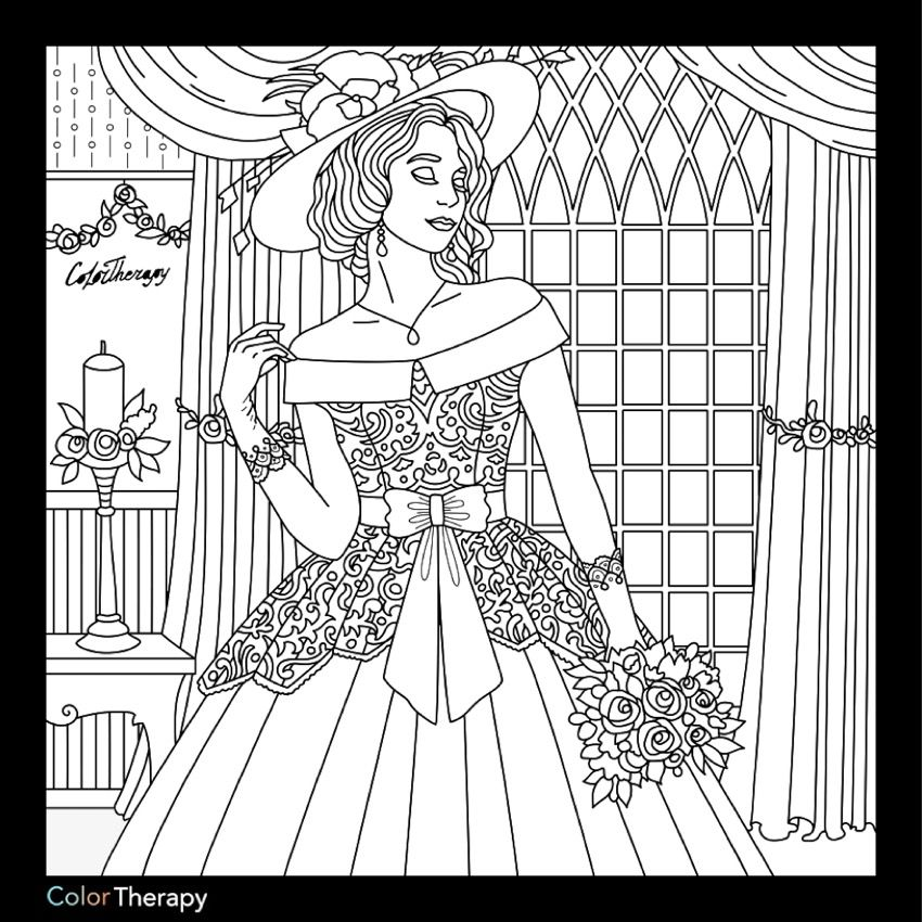 Bride coloring page | Fashion Coloring Pages for Adults | Pinterest ...