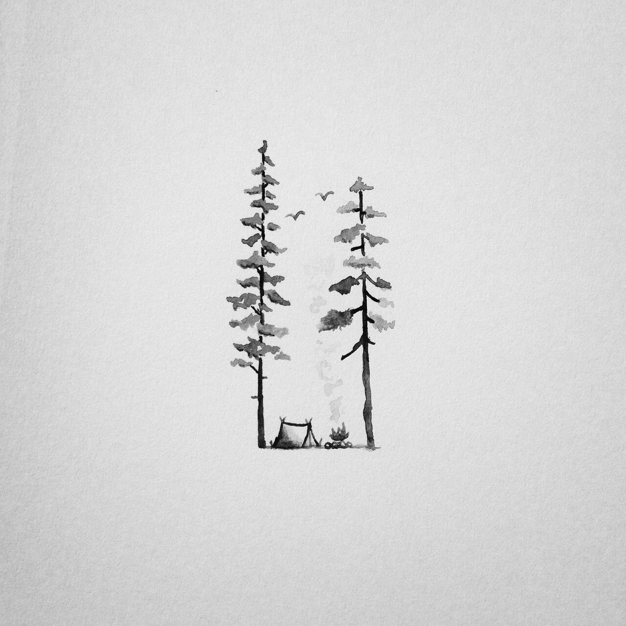 Easy And Simple Draw Or Tattoo Freedom, Nature, Trees And