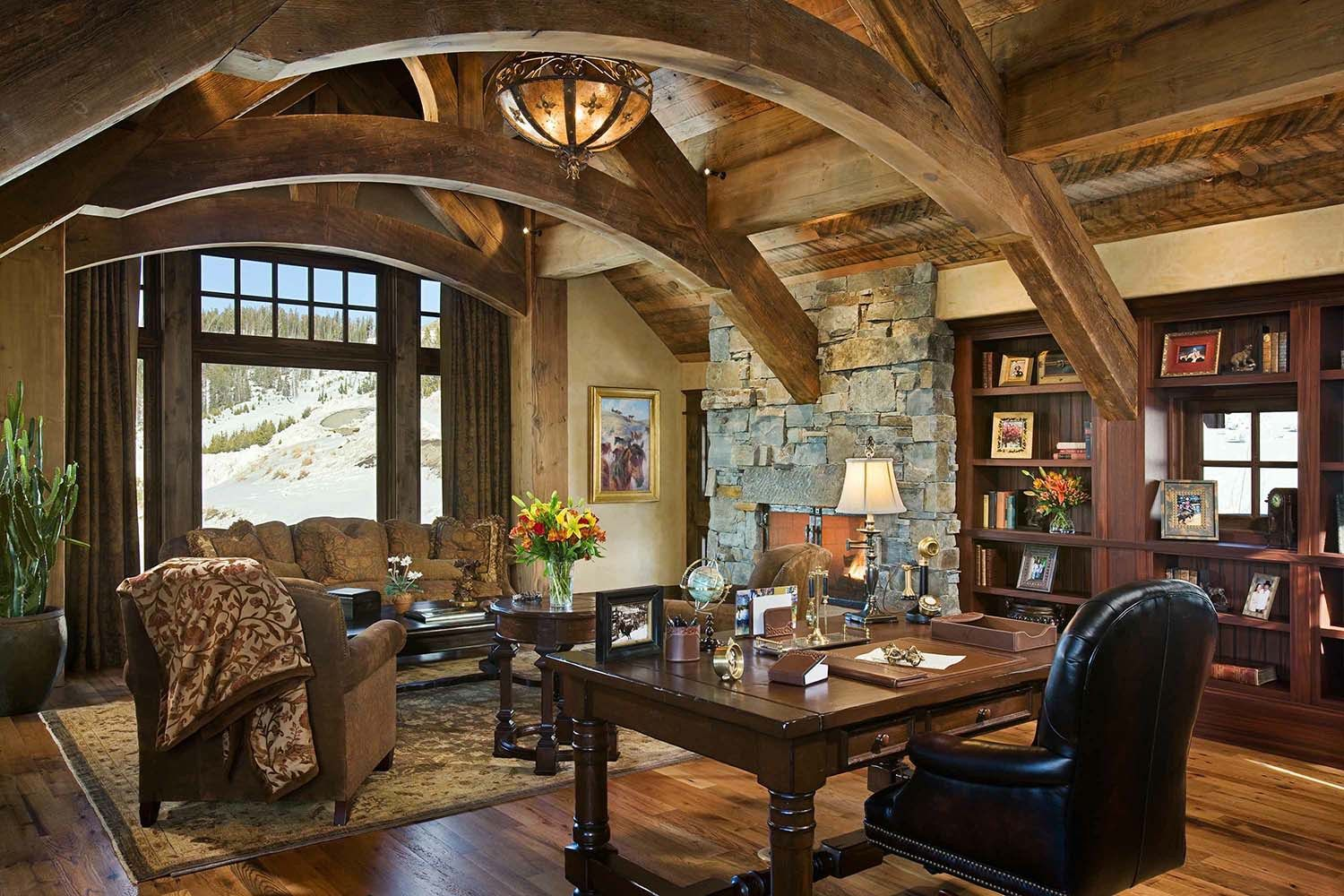 Hillside snowcrest ultimate modern rustic ski chalet for Masculine rustic decor