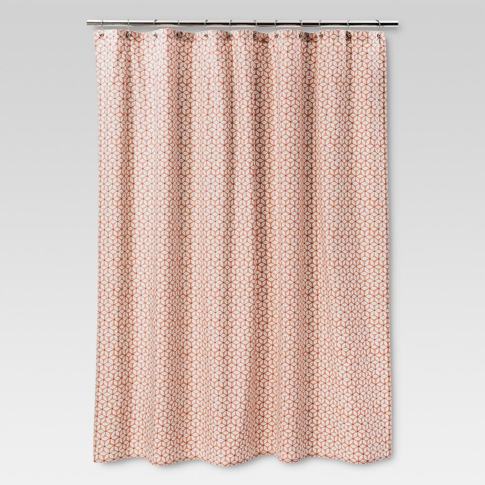 Threshold Shower Curtain Fabric Coral Pinwheel Geometric 72 X 72