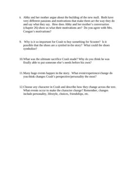 12 higher level thinking discussion questions about Crash by Jerry ...