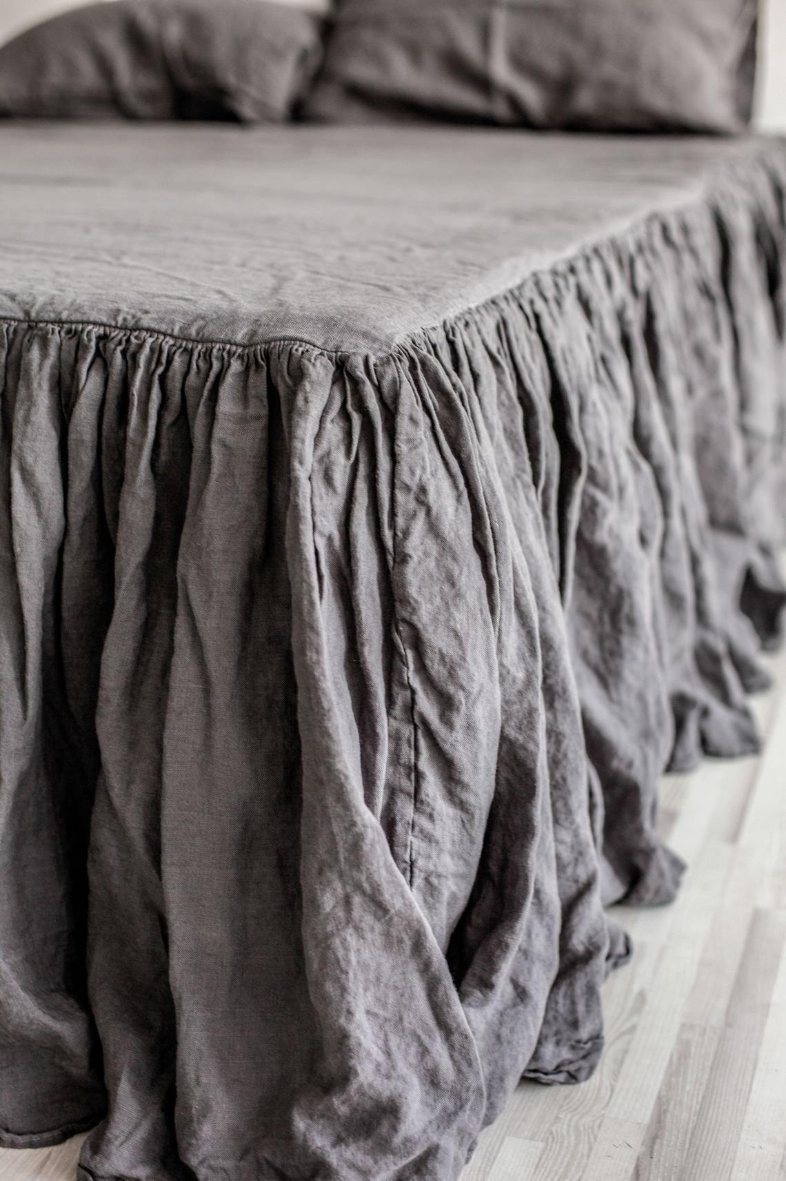 Linen Dust Ruffle Bed Skirt European Flax Natural Linen Twin