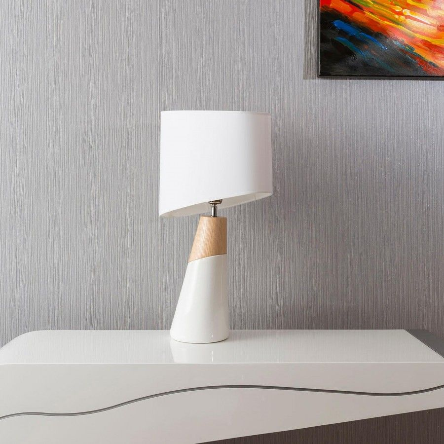 Envy Lighting Modern Designer Table Lamp In White And Light Oak