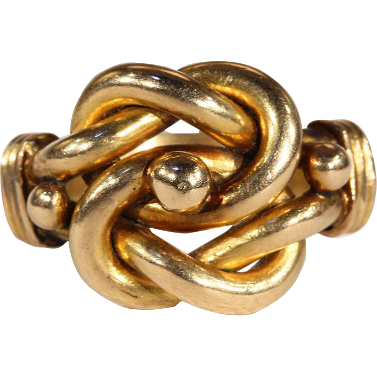 antique edwardian mens love knot ring in 18k gold on