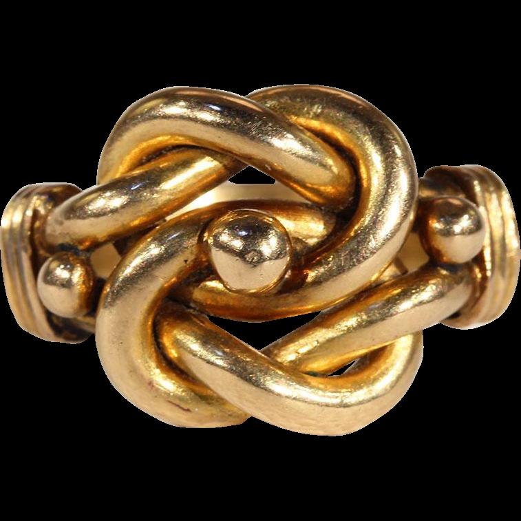 Antique Edwardian Mens Love Knot Ring in 18k Gold on RubyLane