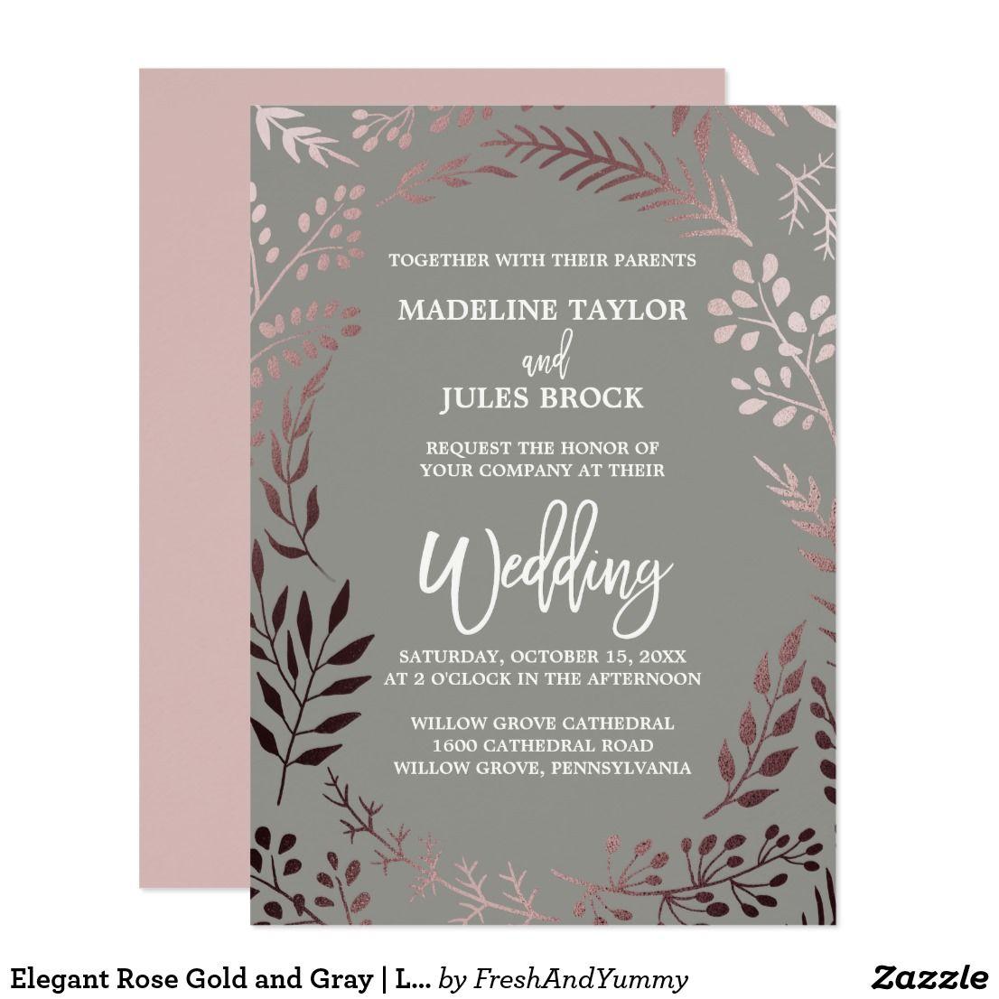 Elegant Rose Gold And Gray Leafy Frame Wedding Invitation Zazzle Com Floral Wedding Invitations Popular Wedding Invitations Wedding Invitations