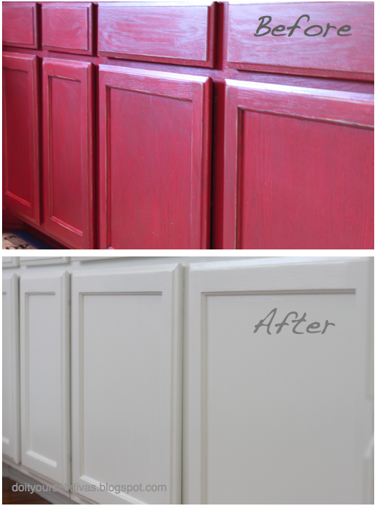 Do It Yourself Divas Diiy How To Paint Over Red Painted Cabinets Walls