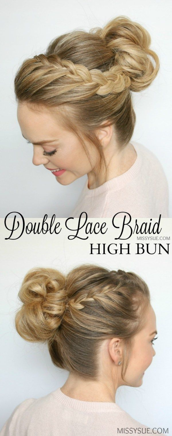 double-lace-braids-high-bun-tutorial | frisuren | pinterest | high