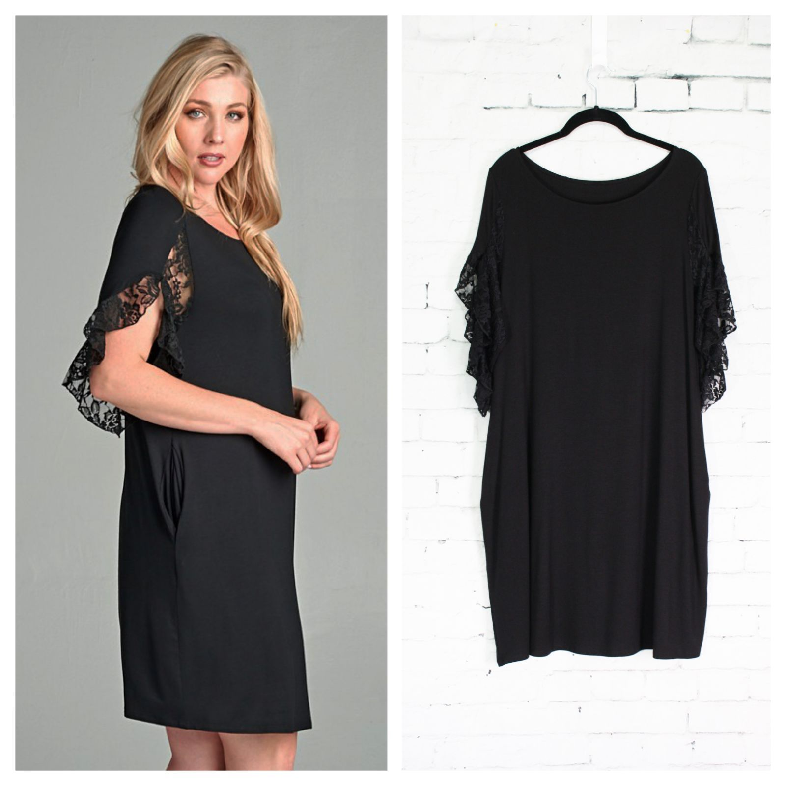 Black dress has sleeves in a mid-arm length trimmed in a light feminine lace, and pockets st sides.