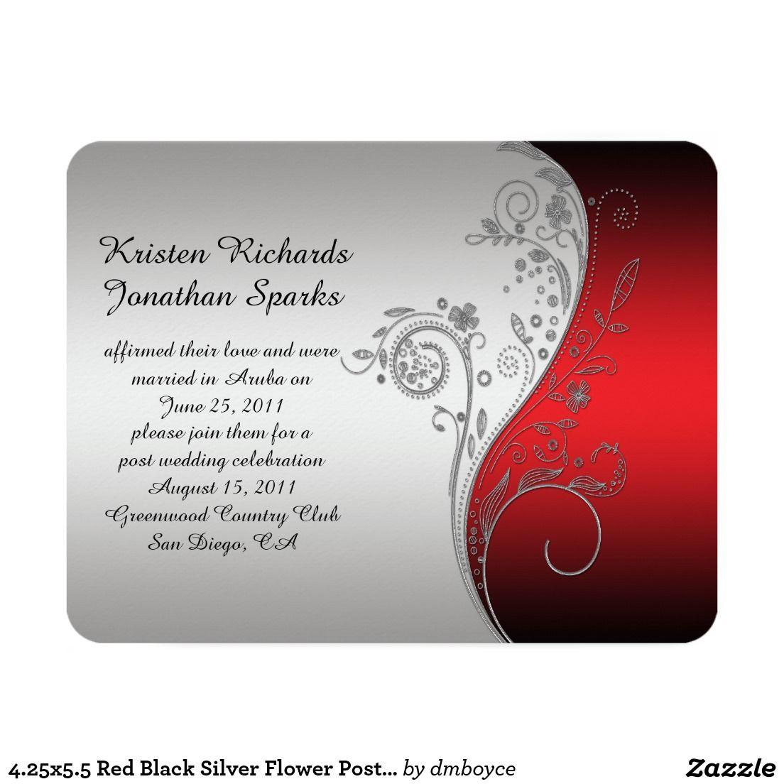 4.25x5.5 Red Black Silver Flower Post Wedding Invitation | Silver ...