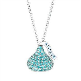 Hershey's Medium Sterling Silver December Hershey's Kiss Necklace Birthstone Pendant, includes adjustable 16 - 18 inch Necklace - Jewelry - Pendants & Necklaces - Gemstone