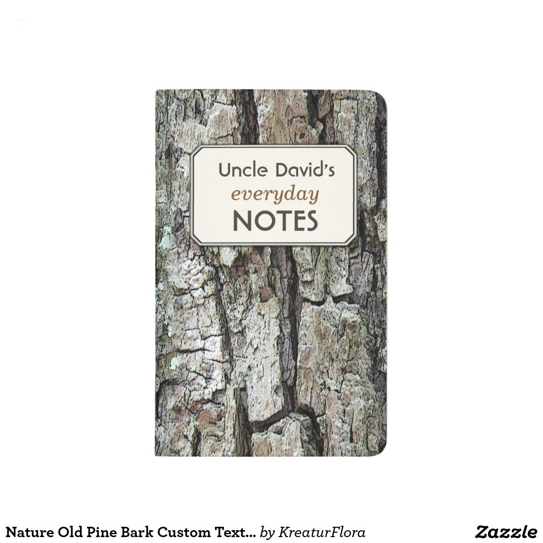 Nature Old Pine Bark Custom Text Label Journal