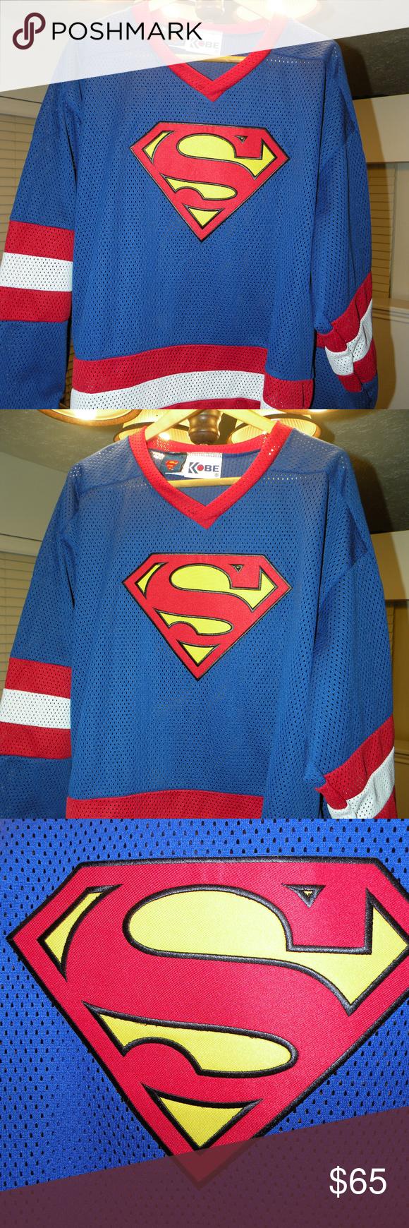 SuperMan Hockey Jersey Size xl Like new made by Kobe in canada Kobe Shirts  Tees - Long Sleeve 94eb10d71ed
