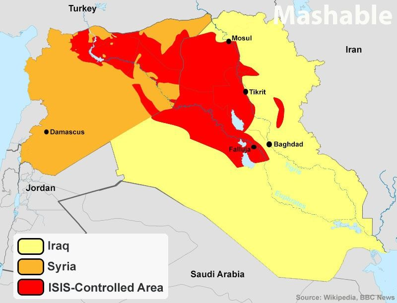 map of the areas in which isis has control brian rees mashable 6