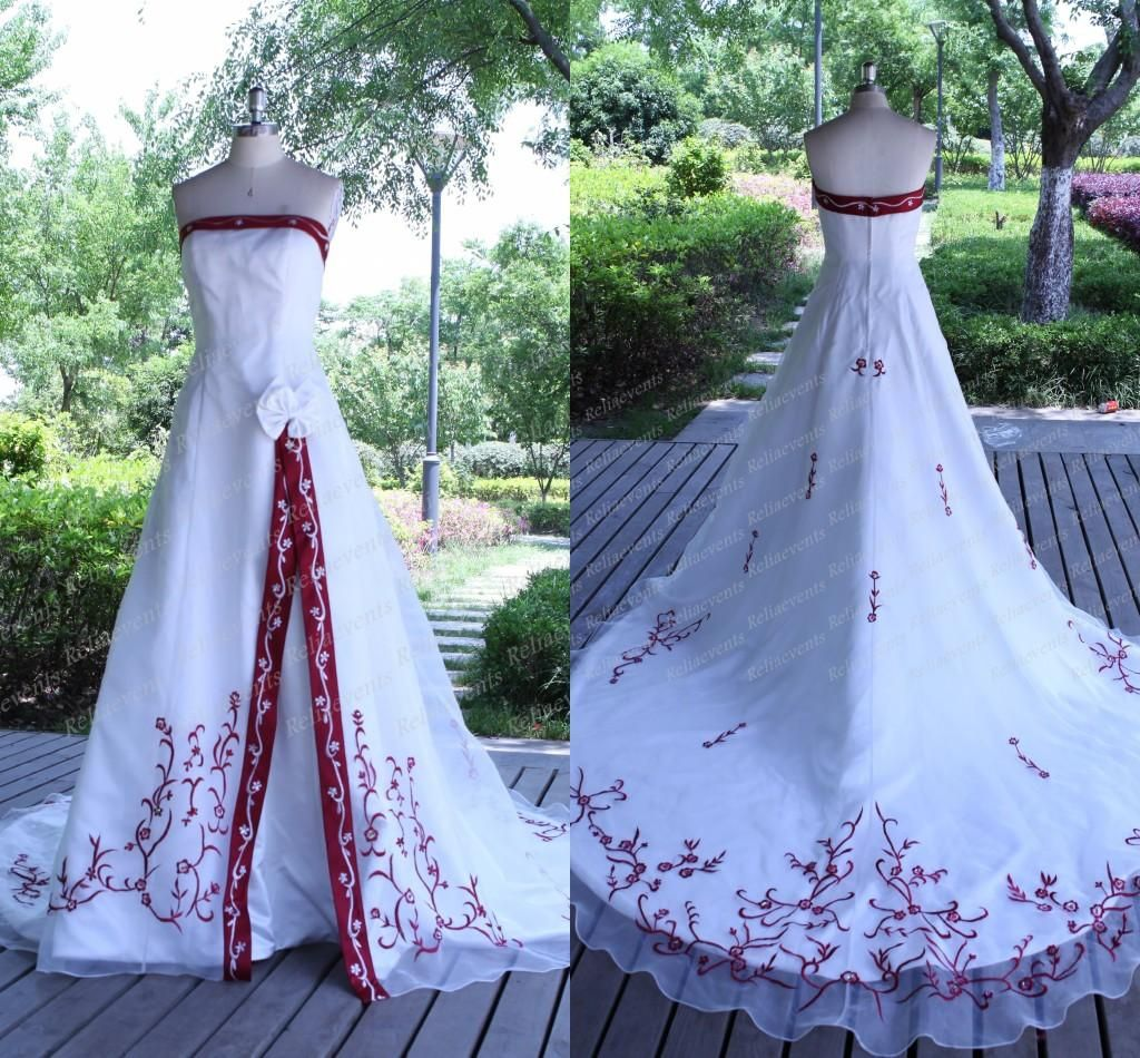 Discount2015 Strapless A Line Wedding Dresses Real Photo Vintage Satin Embroidery Bridal Gowns Red And White Designer Wedding Gowns Cheap Lh From Reliaevents Red Wedding Dresses Red Wedding Wedding Dresses [ 950 x 1024 Pixel ]
