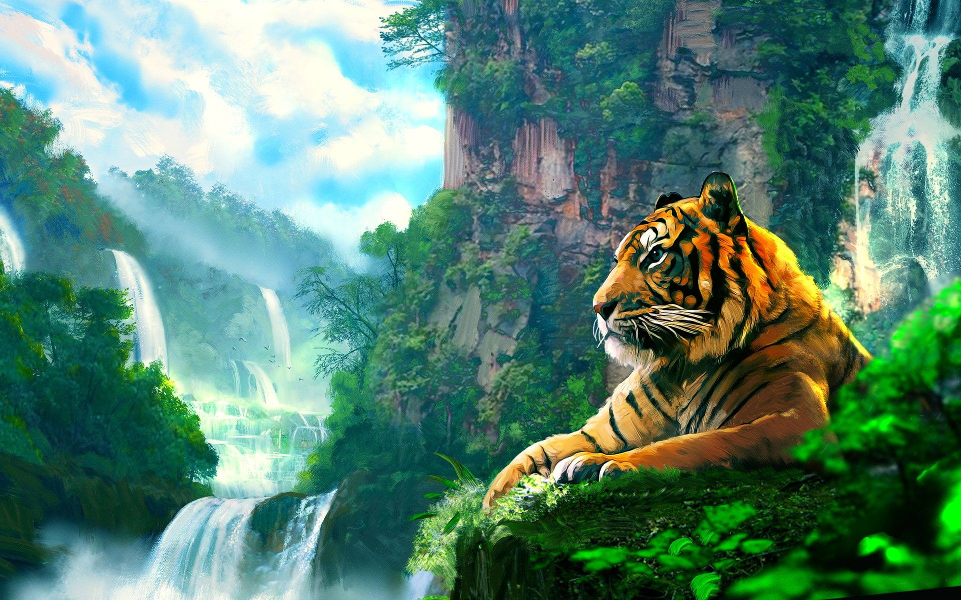 Asian Cat Cats Fantasy Jungle Nature Oriental Predator Tiger 1080p Wallpaper Hdwallpaper Desktop Tiger Wallpaper Animal Wallpaper Tiger Images