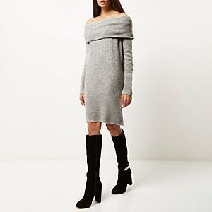 9e2f2c27b15 Grey slouchy knitted bardot dress