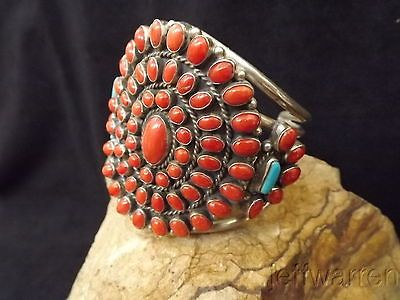 Coral  turquoise circle of life large cuff bracelet