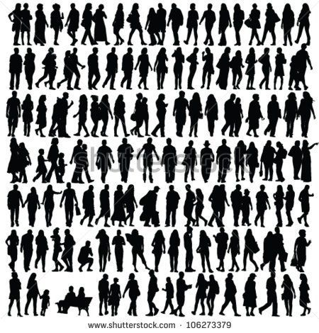 Free Vector Silhouettes Of People Standing Sitting Walking Silhouette People Silhouette Illustration Silhouette Vector