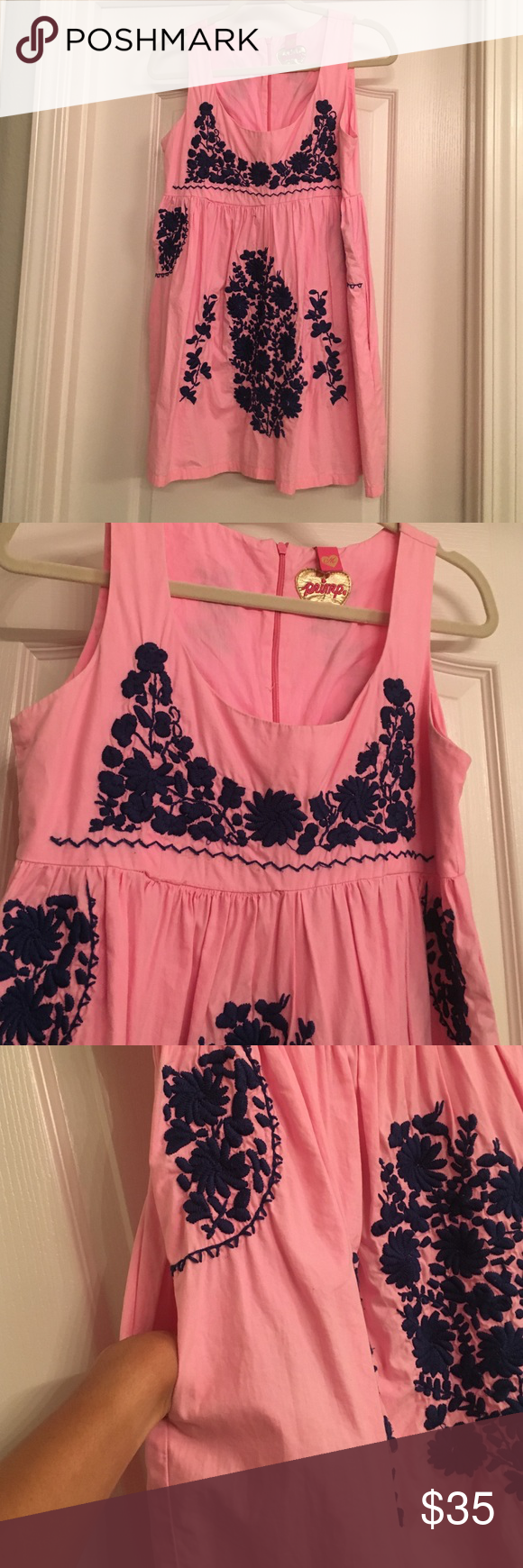 Bright pink mini dress Brand- Primp. Going to Mexico ?? you need this mini dress. Neck line is low. Perfect for a chunky necklace. Beautiful blue stitching along the front and back plus it has pockets!!! Make an offer! Primp Dresses Mini
