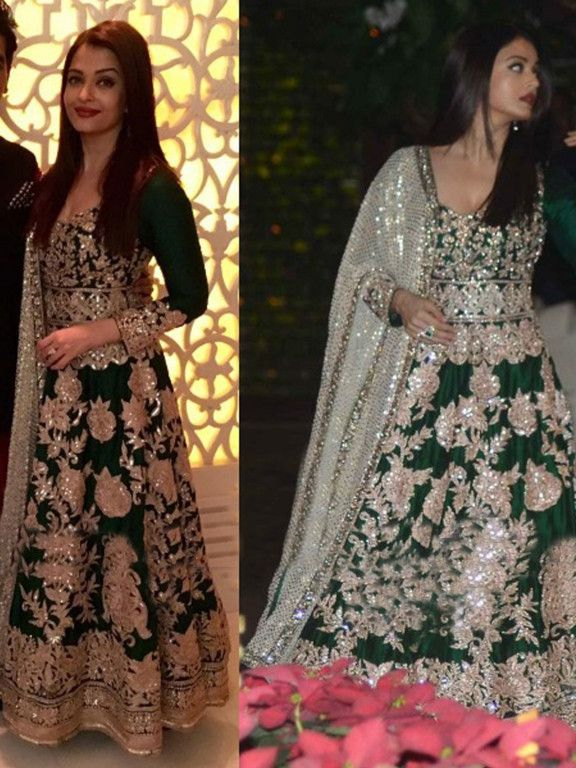 56e1bf8019ec1 Aishwarya Green Embroidered Bollywood Style Anarkali Dress - Ethnic Khazana