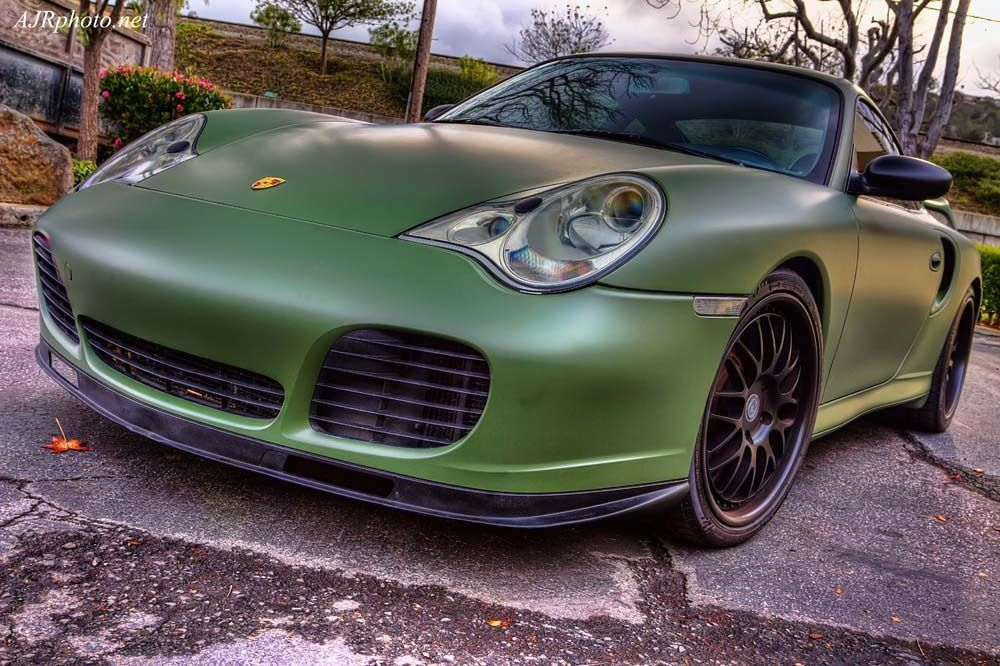 Image result for matte army green Car wrap, Porsche