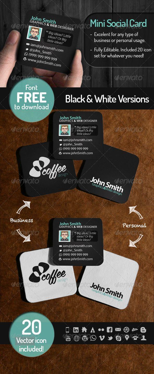 Mini Social Card Square Business Cards Create Business Cards Business Cards Creative
