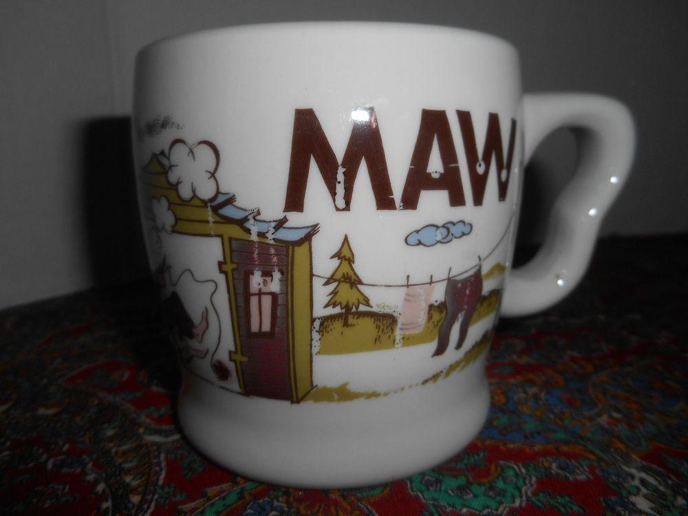 """Vintage Shenango China Mug """"MAW"""" Cup Mother's Cup Funny Humor Hillbilly"""