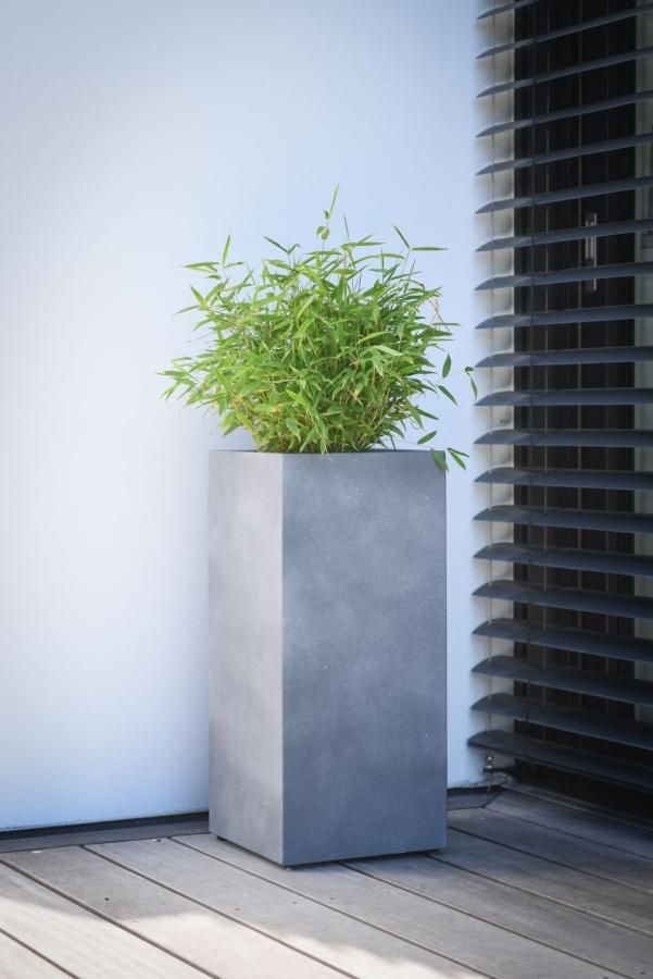 Pflanzkubel Blumenkubel Fiberzement Block Saule Grau Potted Plants Plants Planters