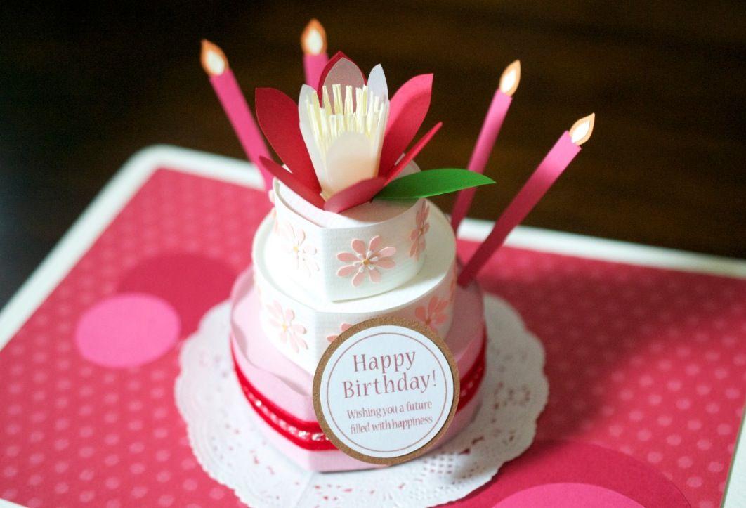 original handmade pop-up card flower birthday cake (pink\red - birthday cake card template