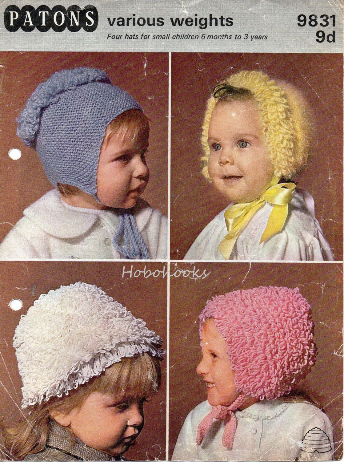 Baby Crochet Pattern ~ Double Knitting /& 4 Ply Bonnets /& Hats   0 ~ 2 yrs