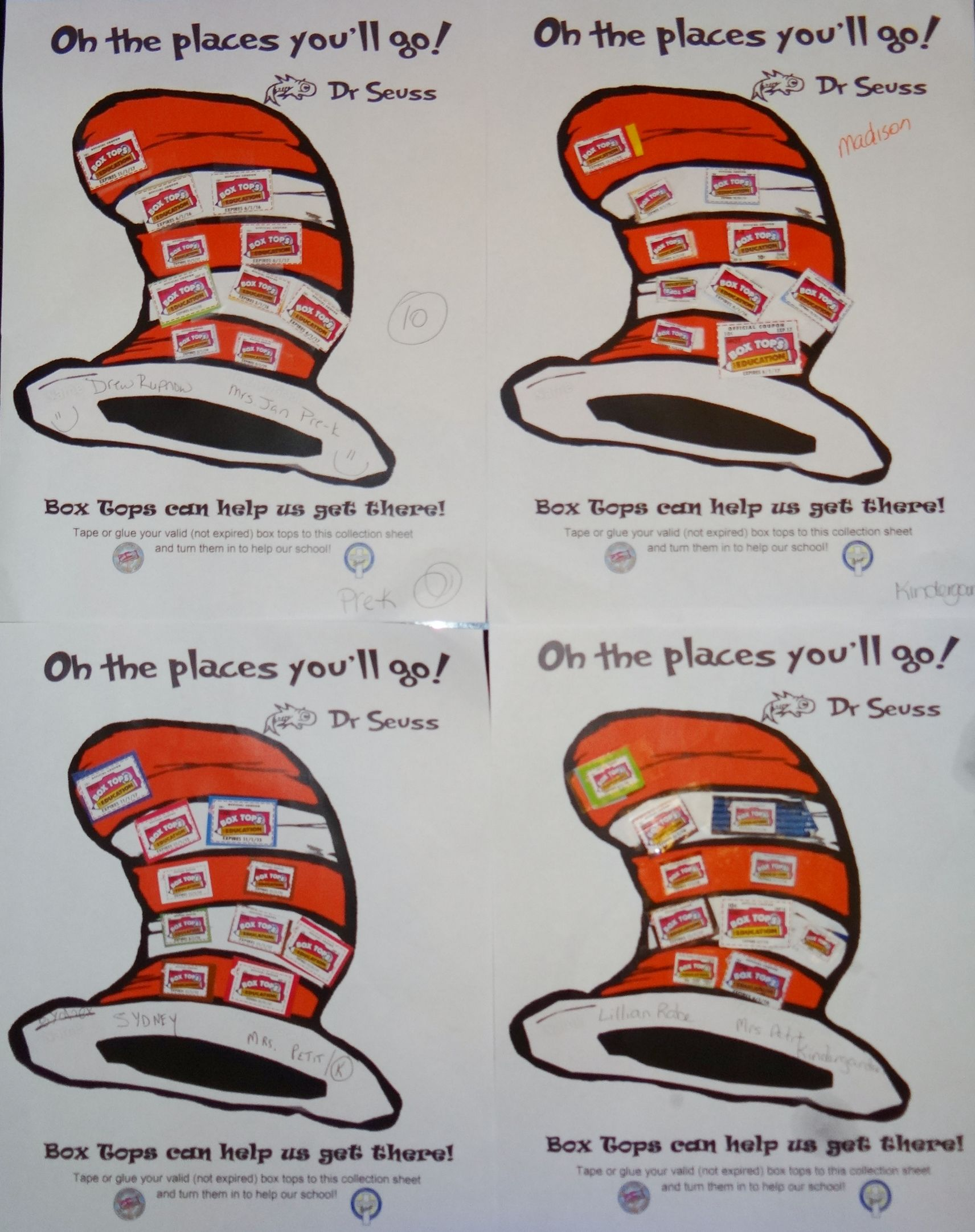 A Dr Seuss Box Tops Collection Sheet I Created They