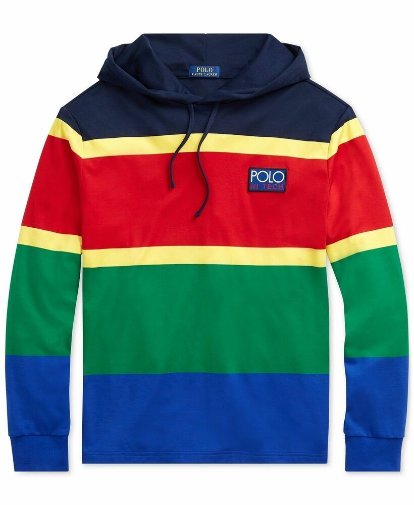 Cp Polo Tech Blocked Lauren 93 Striped Hi Color Ralph Men Hoodie srdCthQ