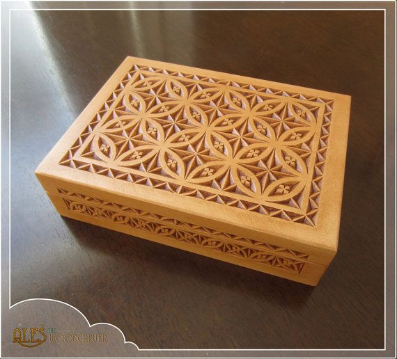 Chip carved trinket box hand wooden by