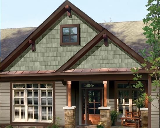 Sage green siding with brown trim google search home for Green siding house