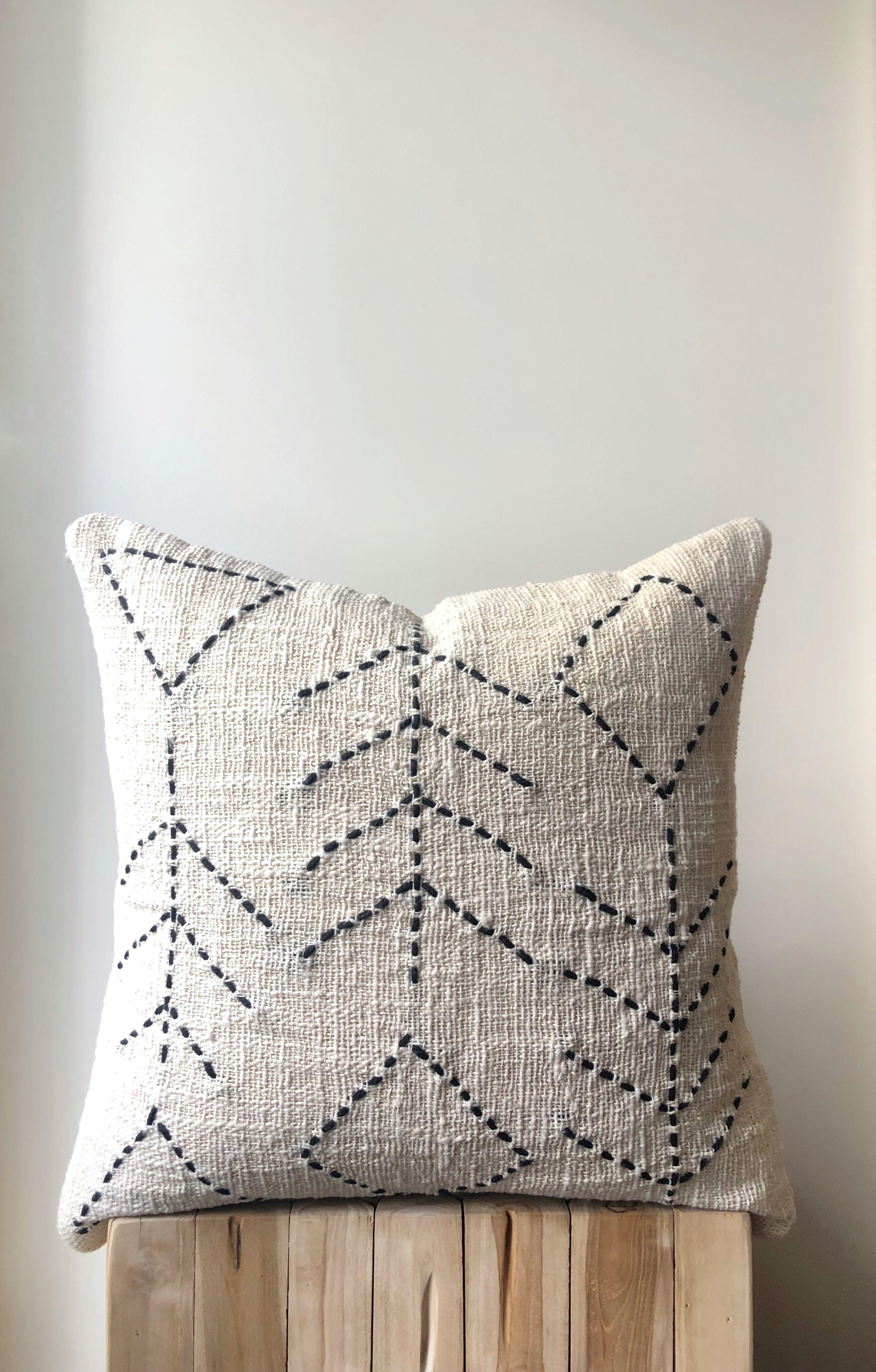 Natural Boho Raw Cotton Pillow Organic Cream Neutral Colour With Black Stitched Leaf Print 50x50 20 Australia Cushions Home Decor Decoration Salon Coussin