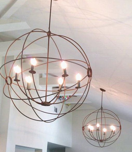 Orb Hanging Light Chandelier Handmade Custom Fabricated