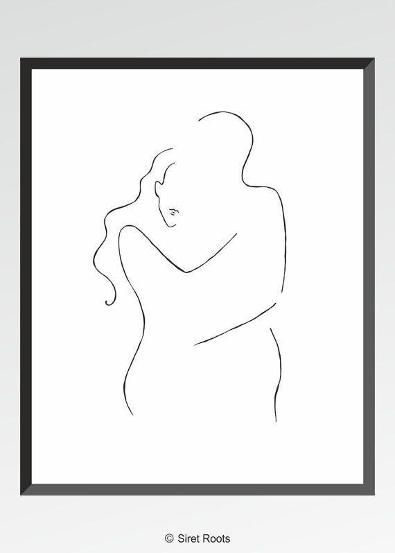 Minimalistischen Strichzeichnungen. Romantisches Paar Zeichnung. Liebe Abbildung. Mann und Frau zu umarmen Wandkunst.