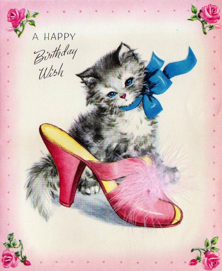 Happy Birthday Cat Wishes: VINTAGE ART & PHOTOS