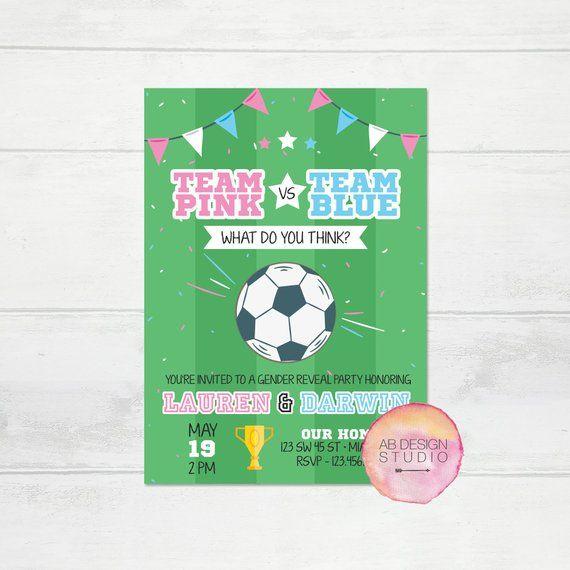 Sports Team Boy // Girl Baby Shower Futbol SOCCER Gender Reveal Party Stickers
