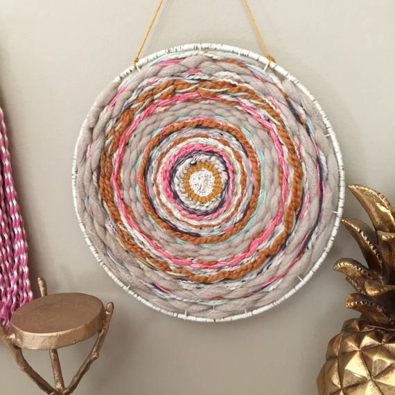 Round Weaving Circle Woven Wall Hanging Dreamcatcher Wall Art Bohemian Tapestries Yarn Wall Hanging Circular Weaving Woven Wall Hanging Handmade Tapestries