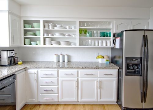 huge kitchen makeover that requires no major construction but makes all the difference open on kitchen cabinets no doors id=67386