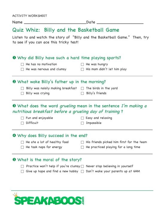 Quiz Whiz Billy And The Basketball Game Speakaboos Worksheets Quiz Education Kids Fairytale Lessons Interactive Stories Worksheets