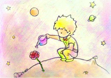 Malenkij Princ Risunok Karandashom Malchik Roza Cvetok Cvety Planeta