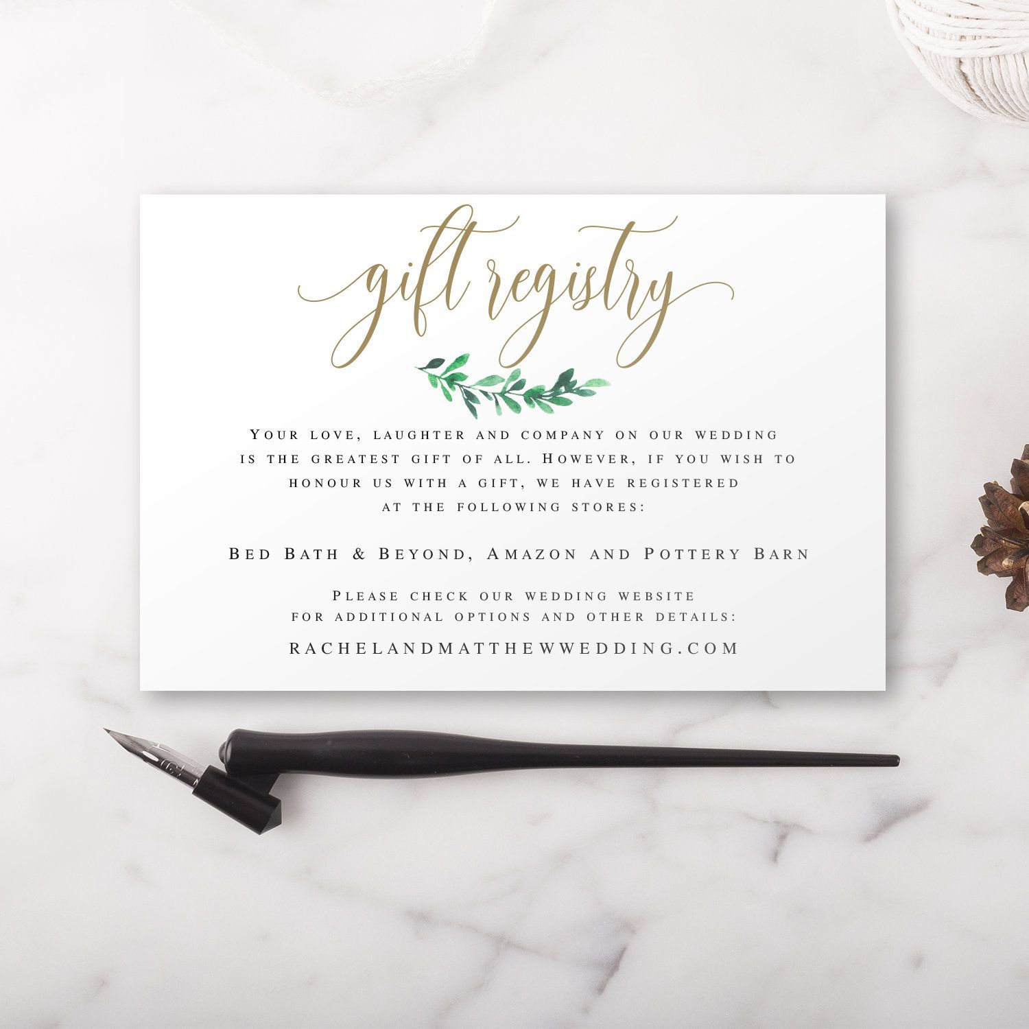 Gift registry card template Gold wedding enclosure card